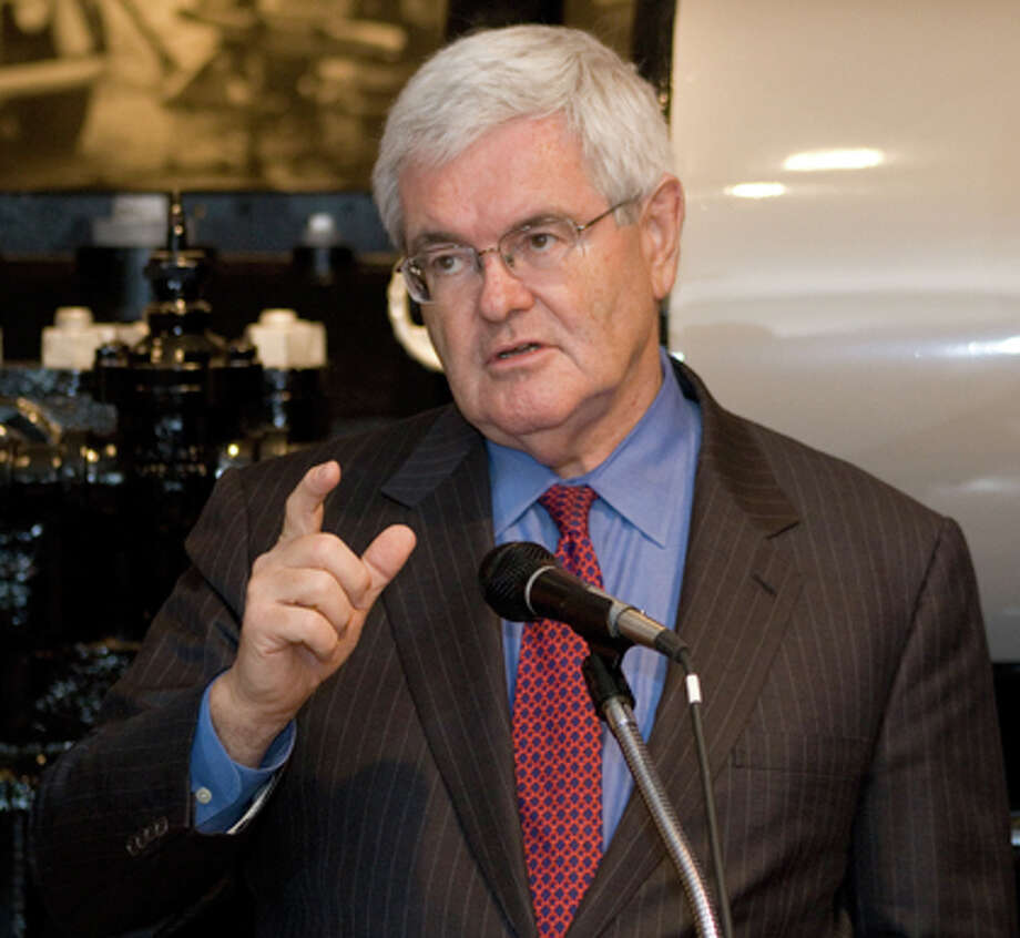 Newt Gingrich, former Speaker of the House, spoke to media Wednesday at the Texas Energy Museum about issues facing the economy and energy industry. Humberto Martinez/The Enterprise
