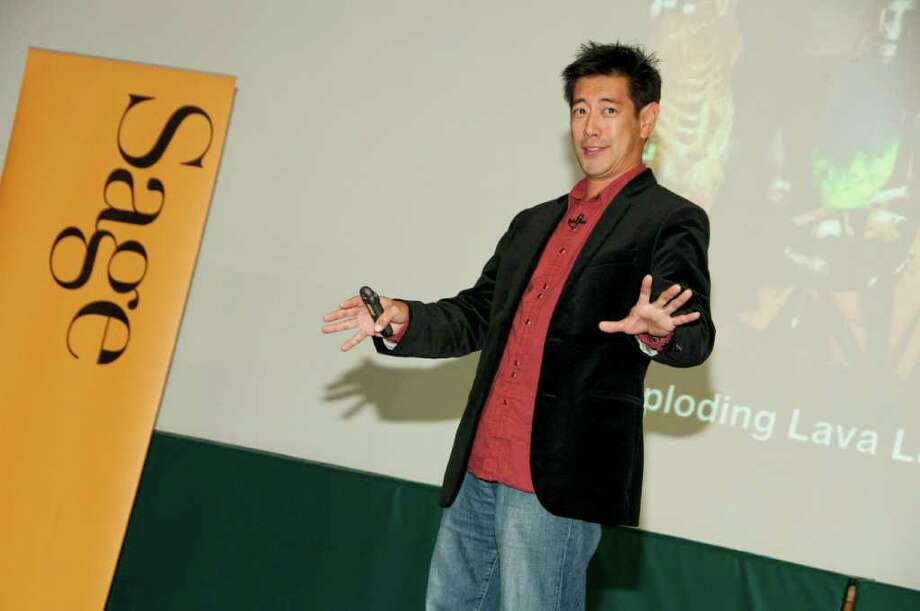 "Grant Imahara, the brainy electronics engineer, robot builder and camera-shy co-host of the Discovery Channel show ""MythBusters,"" entertains fans Thursday night at Sage College of Albany. (Tamara Hansen / Sage Colleges) Photo: Tamara Hansen / © Tamara Hansen 2010"