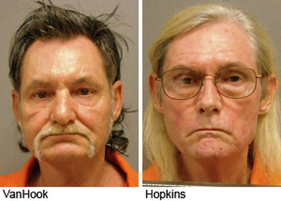 Thomas Louis Van Hook, left, and his step-brother James Hopkins have both been booked into the Jasper County jail on sex offender related charges. Jasper County Sheriff Dept. Photos