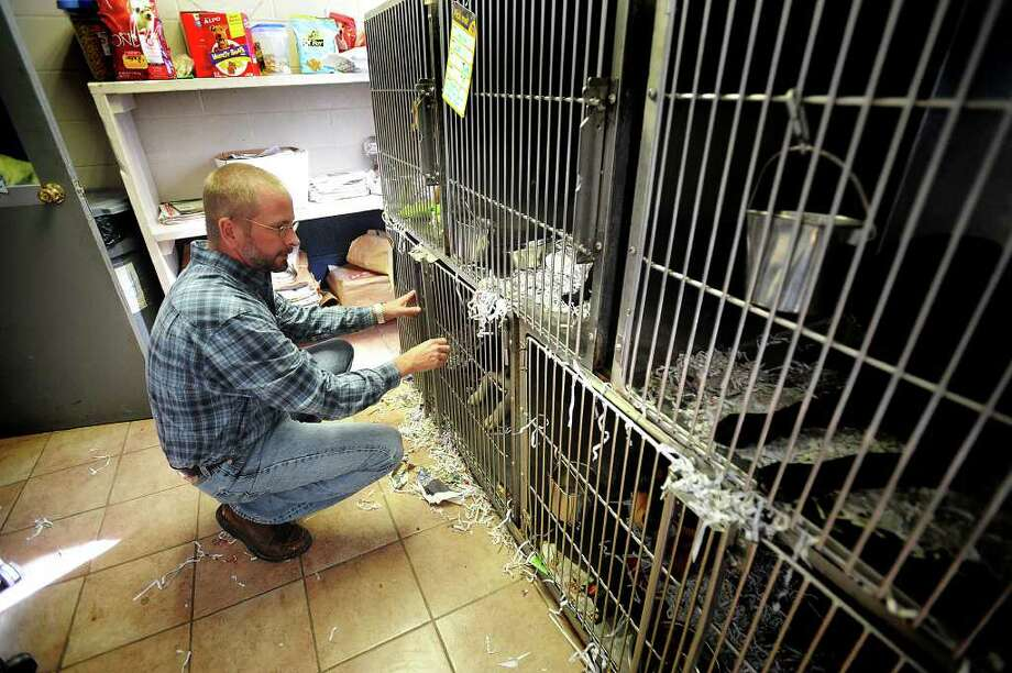 Max Mixson lets a border collie out of its cage to play on Monday, December 29, 2008. Mixson plans to bring more animal education to the area as well as make the Southeast Texas Humane Society a more financially viable shelter.  Guiseppe Barranco/The Enterprise