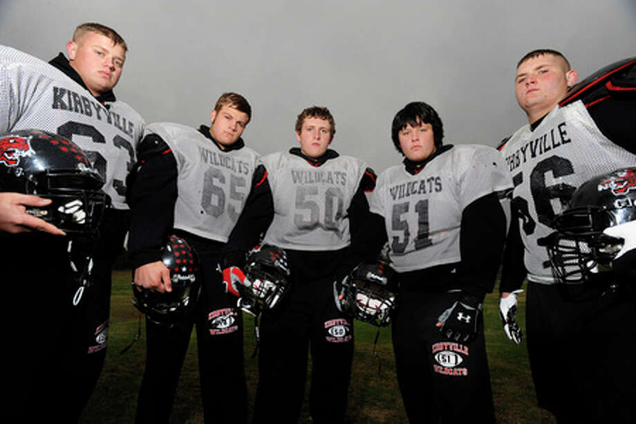 Kirbyville Wildcats offensive linemen, from left,  Frank McMickell, Dillon Peel, Dustin West, Jay Kelley, and Robert Burge pictured at Kirbyville High School on Wednesday. Valentino Mauricio/The Enterprise
