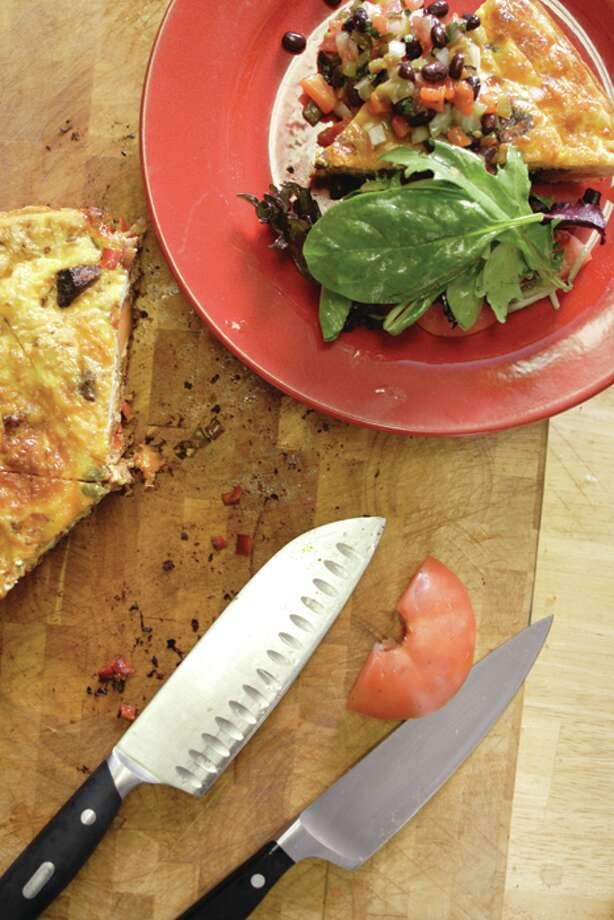 (Suzanne Kawola/Life@Home) Smoked Brisket Fritatta with Roast Pepper and Black Bean Salsa
