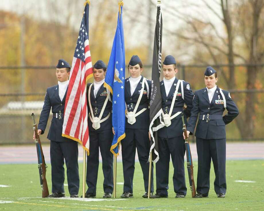 The Danbury High School ROTC Color Guard helped celebrate Homecoming at the football game against Trumbull Saturday, Oct. 30, 2010, at Danbury High School. Photo: Barry Horn / The News-Times Freelance
