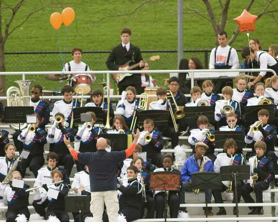 The Danbury High School band serenaded the Homecoming Game crowd at the Hatters' football game against Trumbull Saturday, Oct. 30, 2010, at Danbury High School. Photo: Barry Horn / The News-Times Freelance