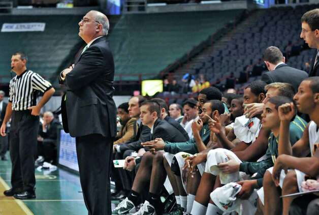 Siena's new head coach Mitch Buonaguro watches as the Siena men's basketball team takes on Division II Adelphi. (John Carl D'Annibale / Times Union) Photo: John Carl D'Annibale / 00010830A