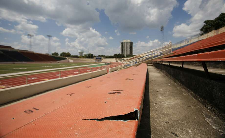 The replacement of well-worn bleachers at Alamo Stadium would be one of the upgrades funded if the bond issue passes.