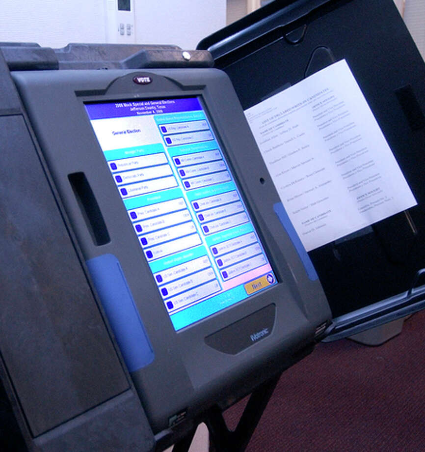At the Jefferson County Clerk's office,  this machine was being used as a training tool for any new voters coming into the clerk's office to register and had never used this type of machine.   Dave Ryan/The Enterprise