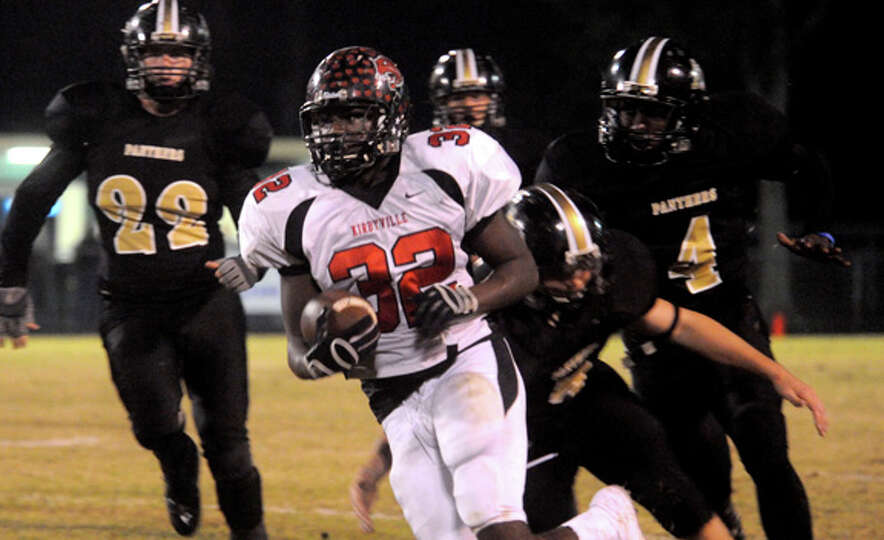 Kirbyville's Broderick Jackson runs for yardage against Anahuac at Little Cypress-Mauriceville High