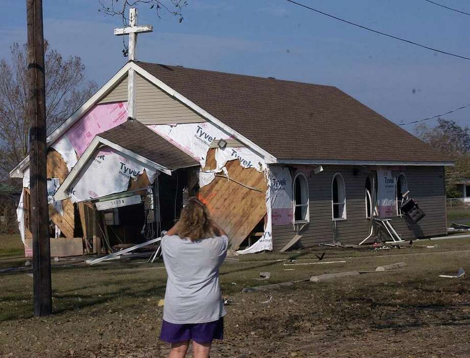 The rebuilt Catholic church in Sabine Pass had extensive damage.  Dave Ryan/The Enterprise