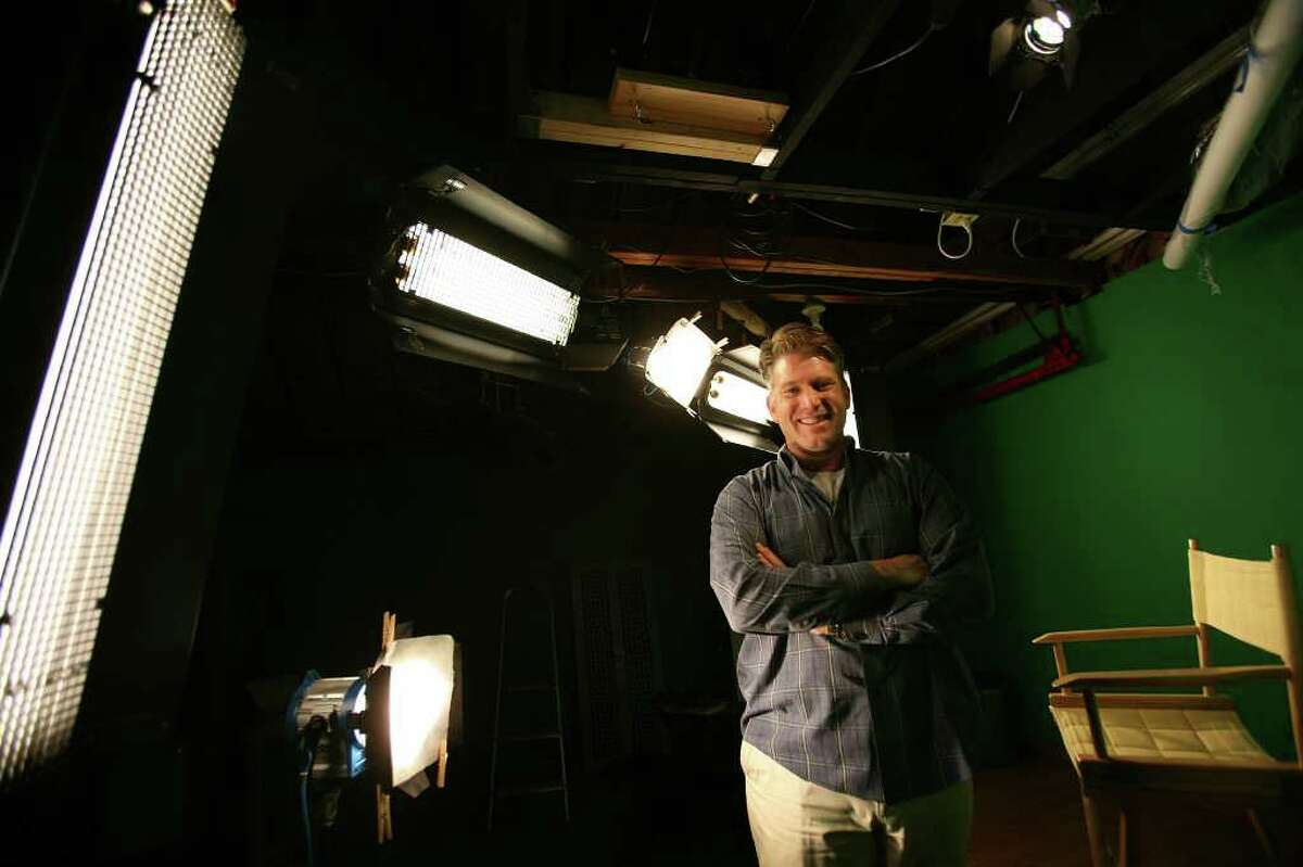 J. Sibley Law, owner of the new media company Saxon Mills, LLC in Stratford, in his home studio where he produces media content for the World Wide Web.