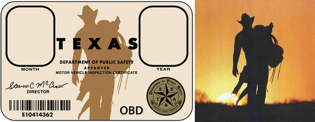 Left: According to photographer D.K. Langford, this is the Texas vehicle inspection sticker designed from his photograph. Right: This photograph is exhibit A in Langford's suit vs. the Department of Public Safety and the Texas Department of Criminal Justice.