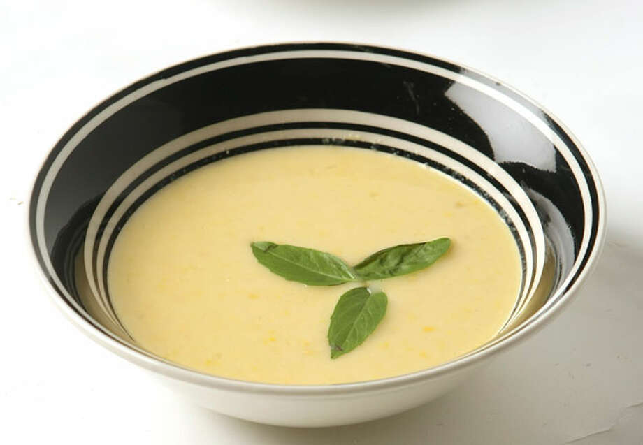 Crema de elote con basilio is a chowder-like soup that combines  corn and basil.