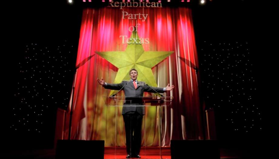 Gov. Rick Perry speaks to the first general session of the Republican Party of Texas convention in Dallas, Friday.