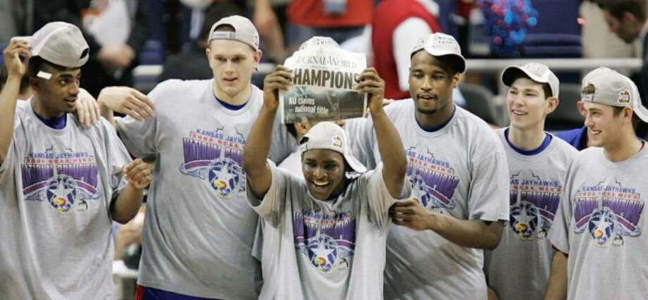 Kansas, shown celebrating a basketball title at the Alamodome in 2008, could find itself left out of a major conference.