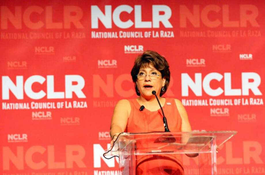 President Janet Murguía speaks at an NCLR town hall Monday at which economic policy as it relates to housing was discussed.