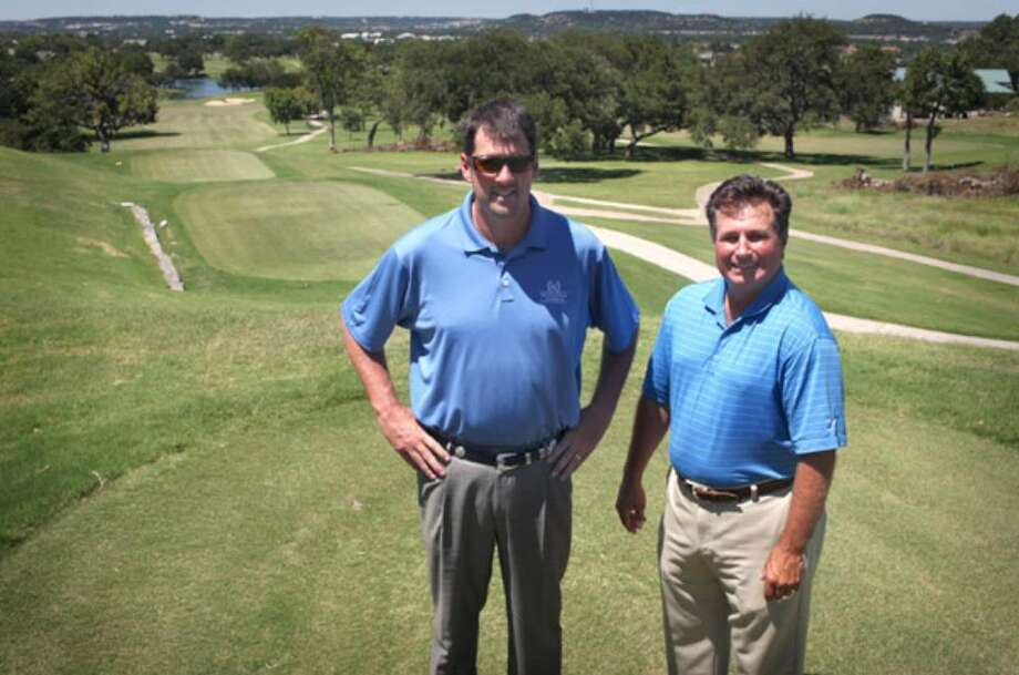 John Junker (left) and Bryan Gathright of Southern Golf Properties have taken over management of Riverhill Country Club in Kerrville. From this elevated spot on the No. 7 tee box, you can see almost the entire course.