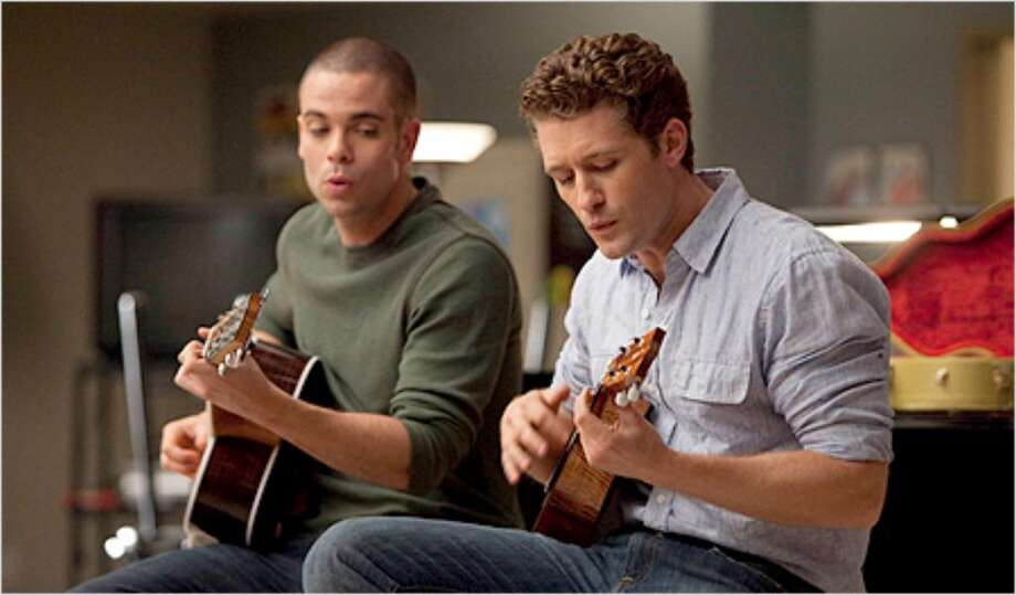 Puck (Mark Salling) and Will (Matthew Morrison) perform in Tuesday night's season finale, titled 'Journey.'