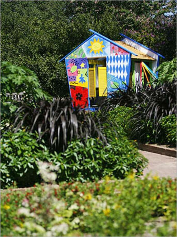 """""""En Plein Air"""" is one of eight designs by local artists in the exhibit """"Playhouses and Forts"""" at the San Antonio Botanical Garden."""