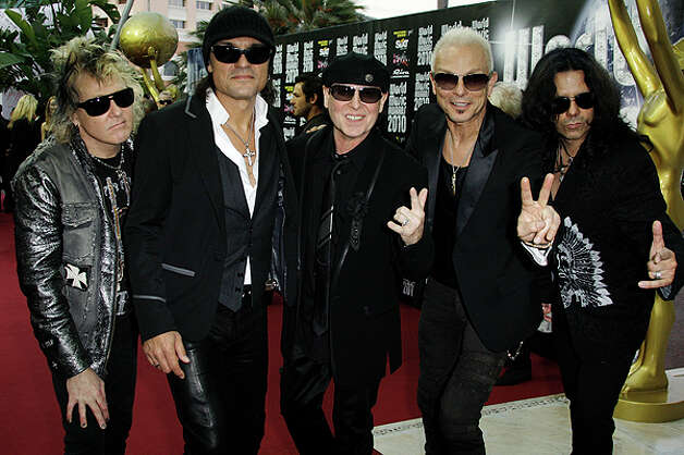 James Kottak, (from left) Matthias Jabs, Klaus Meine, Rudolf Schenker and Pawel Maciwoda of the Scorpions, see in Monaco, on May 18, will be in San Antonio with Ratt on July 23. / AP