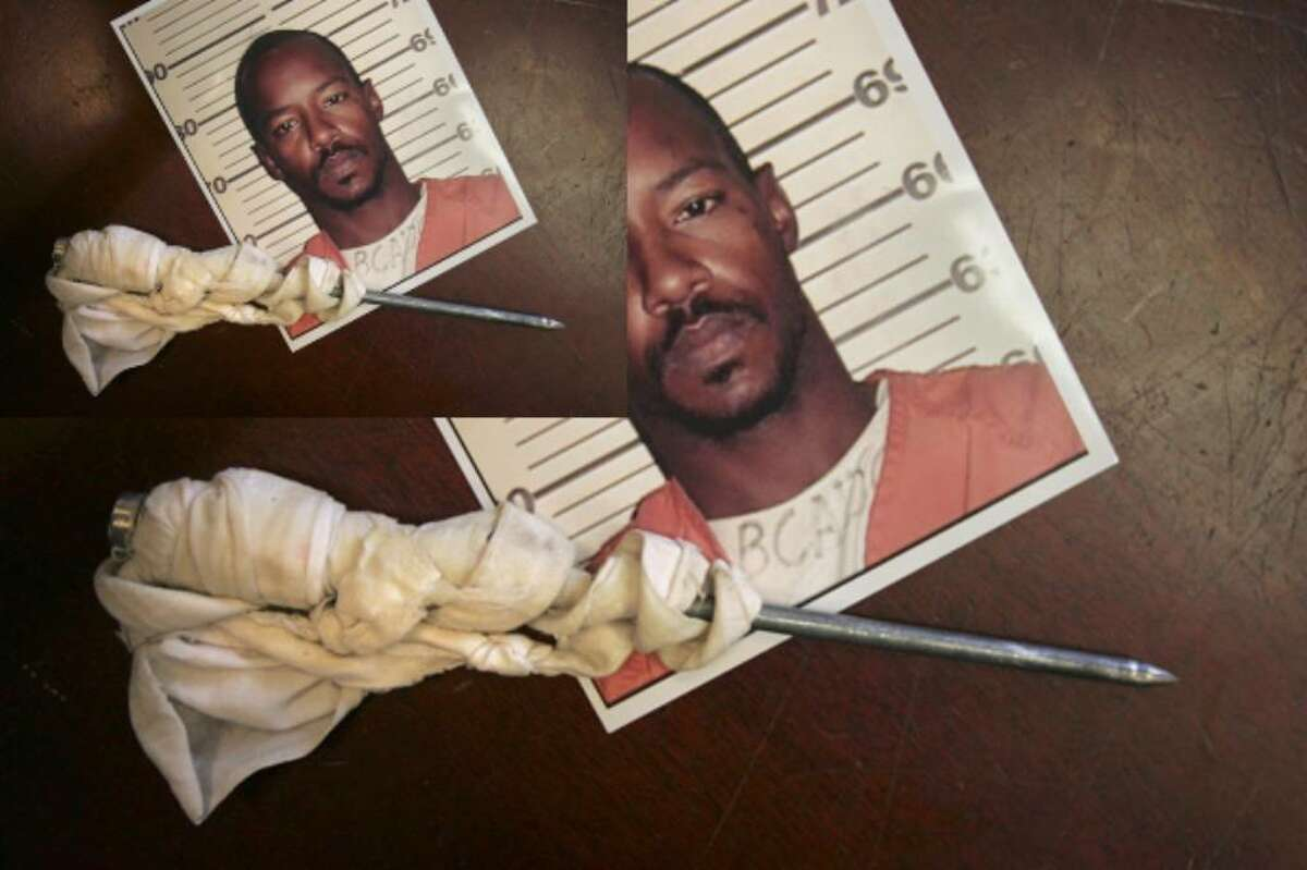 The mugshot of Ronnie Joe Neal and a shank he made out of a bucket in prison that he planned to use during an escape, used as evidence during Neal's trial for the murder of Diane Tilly, in 2006.