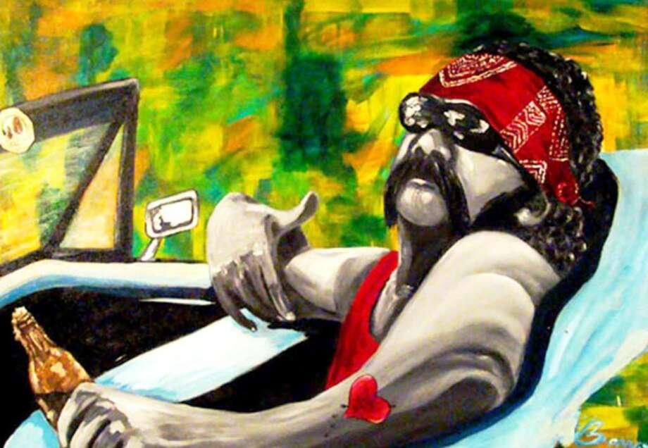 "Corpus Christi artist Grace Barraza-Vega's ""El Vato Louie"" is among 51works by 35 artists in ""New Arte Nuevo"" at the UTSA Art Gallery."