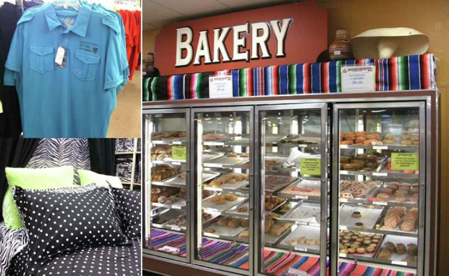 Avant Garde shirts (top left) for boys sell for $7.99 at Fallas Paredes. Satisfy a sweet tooth in the bakery at La Michoacana Meat Market (right). Bag some bedding for $49.99 at Anna's Linens.