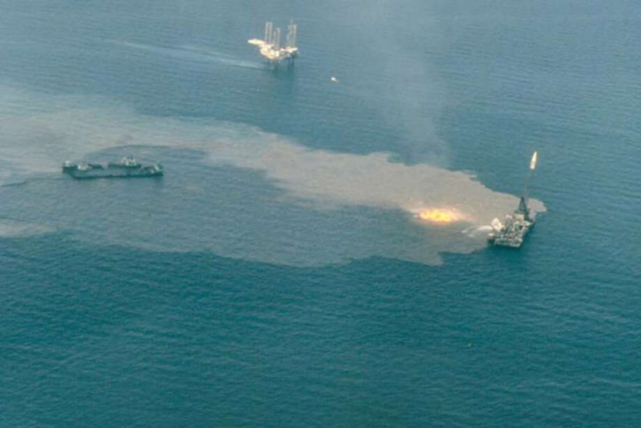 In this undated aerial photo released by the National Oceanic and Atmospheric Administration, a fire burns near the Ixtoc exploratory well that blew out on June 3, 1979, in the Bay of Campeche, off Ciudad del Carmen, Mexico.