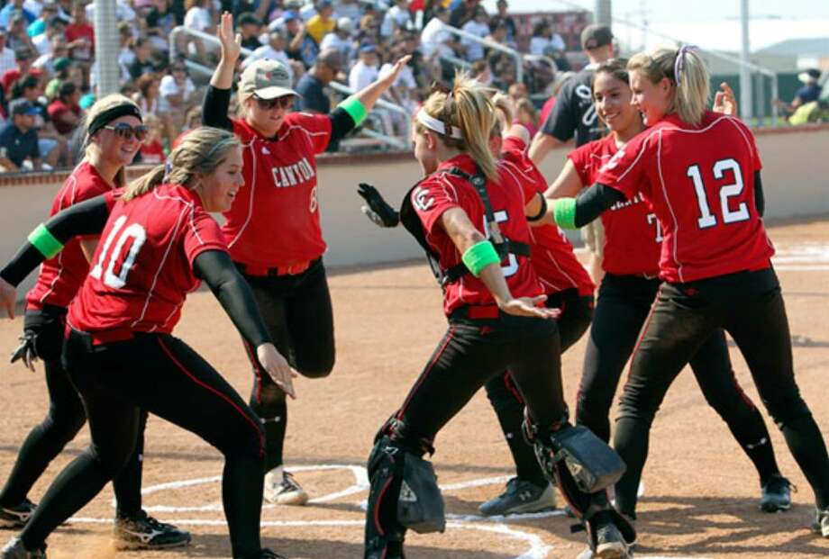 New Braunfels Canyon's players do their best to get fired up before Game 2 of their best-of-3 series against Corpus Christi Moody last week. Moody surprised Canyon by winning 3-0 before the Cougarettes took the series with a Game 3 victory.