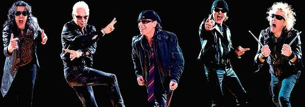 The Scorpions are Pawel Maciwoda (from left), Rudolf Schenker, Klaus Meine, Matthias Jabs and James Kottak.