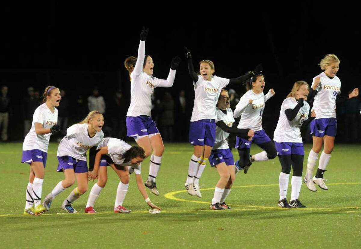 Westhill reacts to their win as Westhill and Darien face off in the FCIAC girls soccer semifinals at Wilton High School in Wilton, Conn., Monday, November 1, 2010. Westhill won in a shootout.