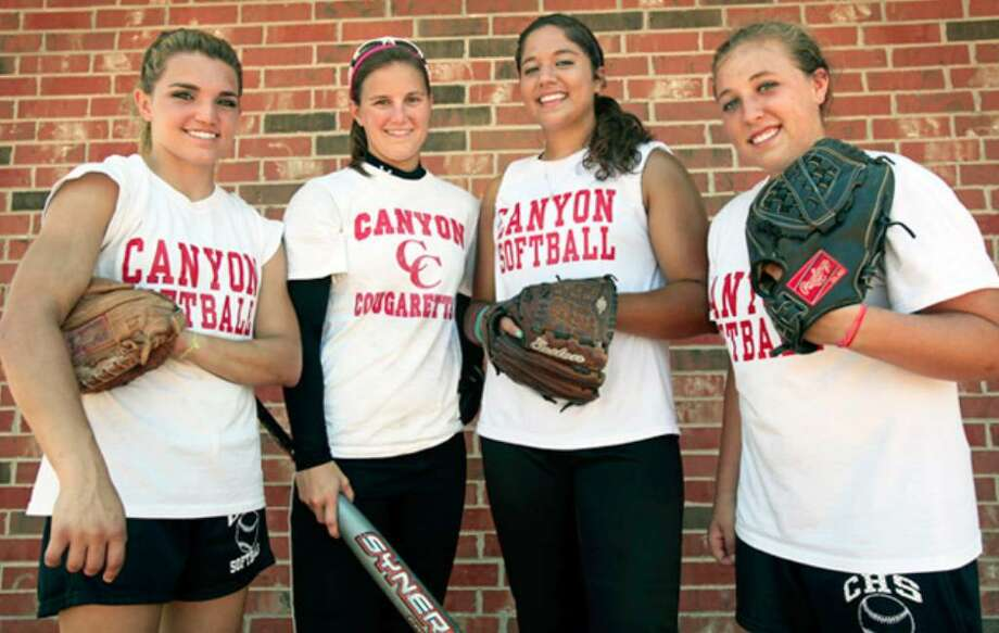 New Braunfels Canyon stars Mandy Ogle (from left), Stephanie Peace, Sara Mireles and Becca Wall each have plans to play Division I softball.