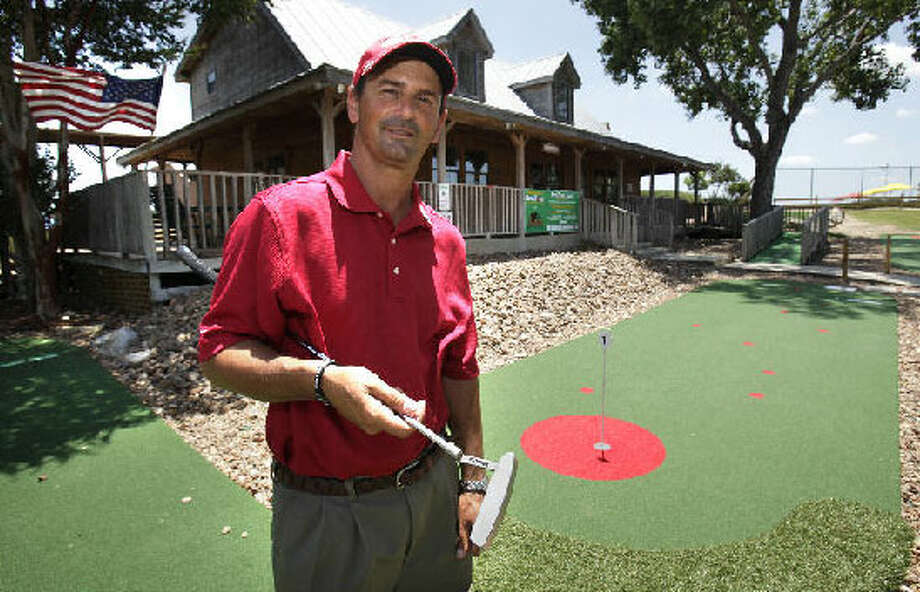 Tom Covino invented the BirdZone-Tour 4, an artificial-surface putting game that went on sale late last year.