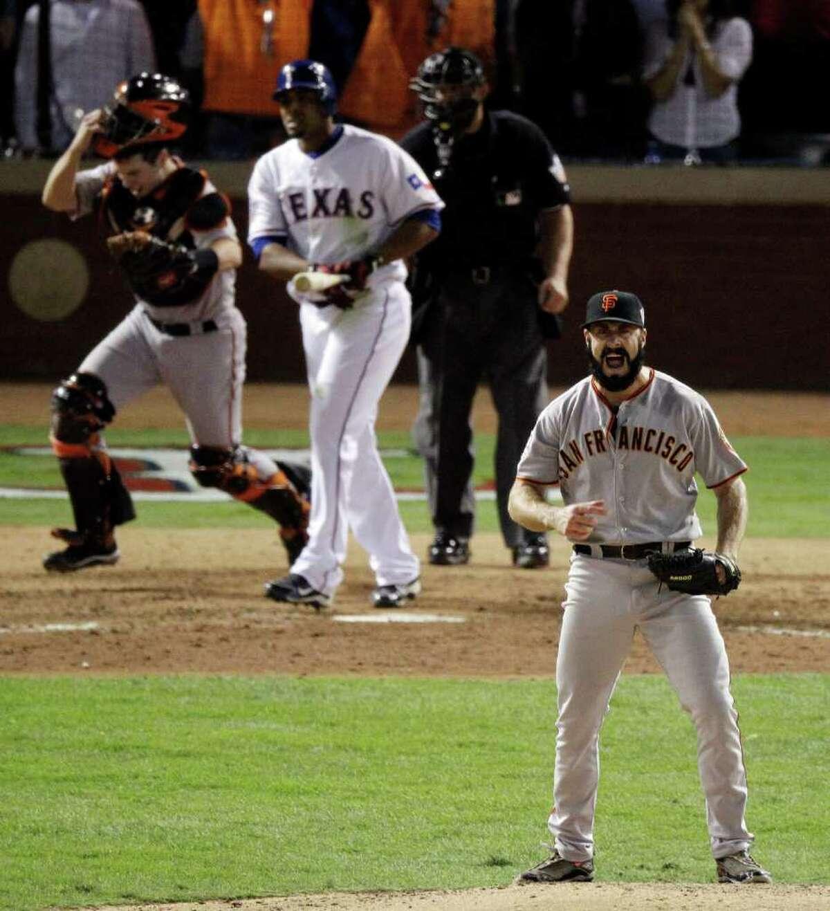 San Francisco Giants' Brian Wilson after striking out Texas Rangers' Nelson Cruz to win baseball's World Series 3-1 Monday, Nov. 1, 2010, in Arlington, Texas. (AP Photo/Eric Gay)
