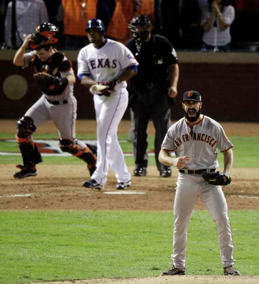 San Francisco Giants' Brian Wilson after striking out Texas Rangers' Nelson Cruz to win baseball's World Series 3-1 Monday, Nov. 1, 2010, in Arlington, Texas. (AP Photo/Eric Gay) Photo: AP