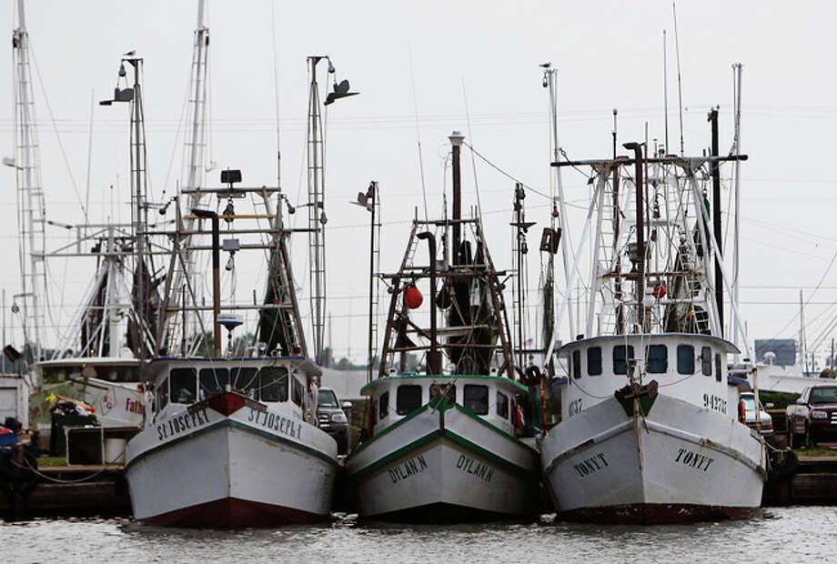 Shrimp trawlers docked in Palacios, Texas recently. / San Antonio Express-News