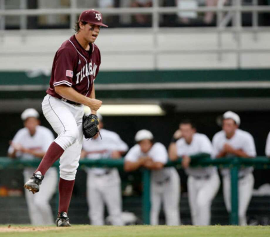 Texas A&M reliever John Stilson celebrates at the end of an 11-7 win over Miami on Sunday to force a decisive game of the Coral Gables Regional tonight.