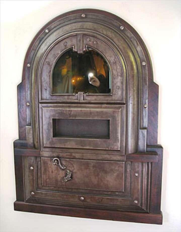 "Steve Brudniak's ""Noumenon,"" made or iron and ipe wood, is like a jukebox from Siberian gulag."
