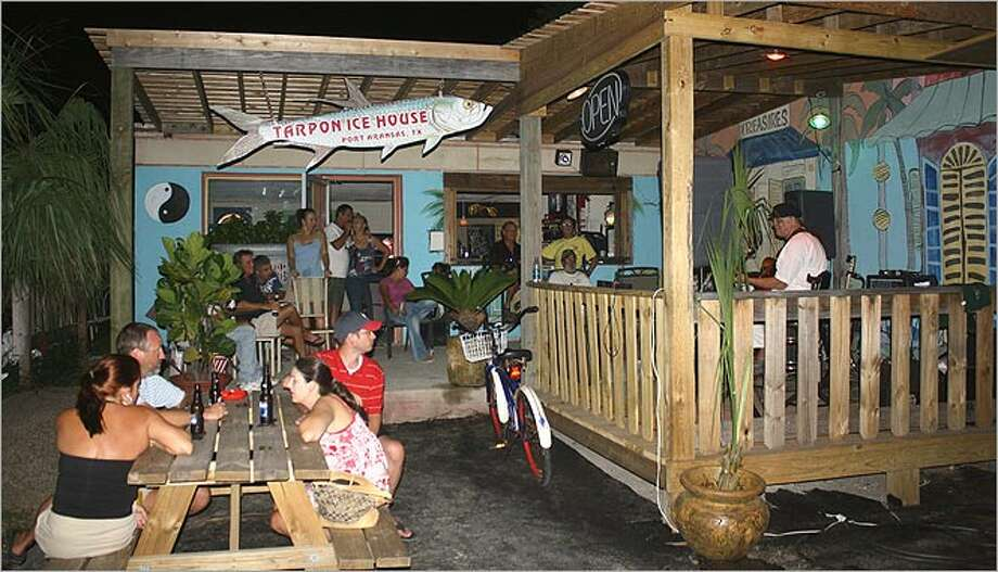 The Tarpon Ice House in Port Aransas attracts a mix of locals and tourists.