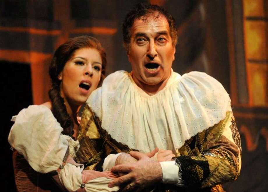 """Daniel Sutin plays the court jester Rigoletto, and Audrey Elizabeth Luna portrays Rigoletto's daughter, Gilda, in the San Antonio Opera's final production of the season, """"Rigoletto."""""""