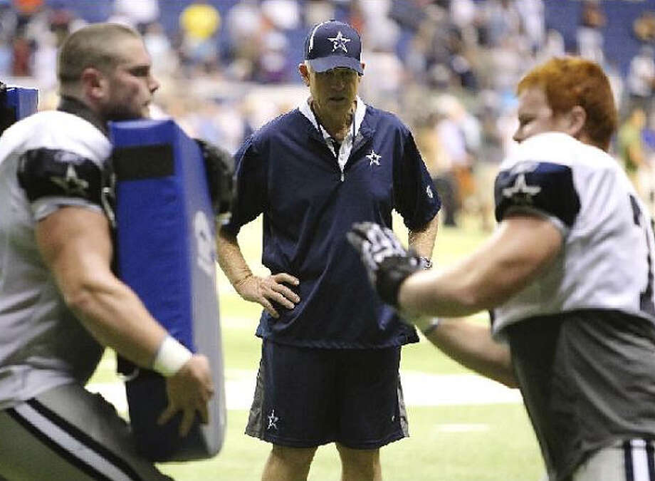Cowboys assistant Hudson Houck, overseeing an offensive line drill, is beginning his 45th season of coaching ? the past 28 in the NFL.