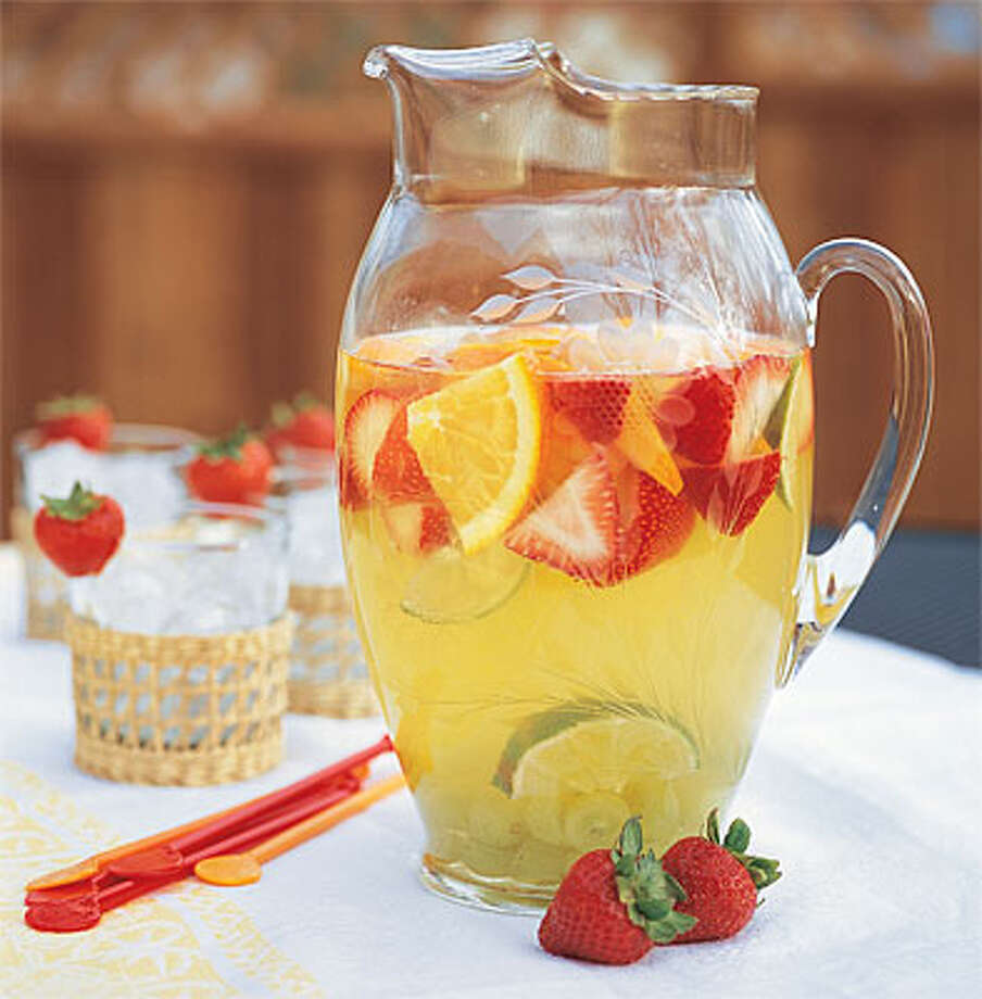Sangria recipes vary by taste and can use red or white wine, such as this See-Through Sangria.