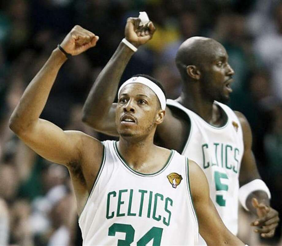 Boston Celtics forward Paul Pierce reacts during his 27-point performance in Sunday's Game 5. Boston leads the Finals 3-2.