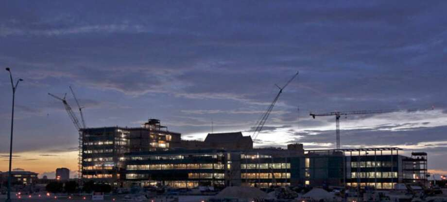 The BAMC expansion project glows at sunset recently.