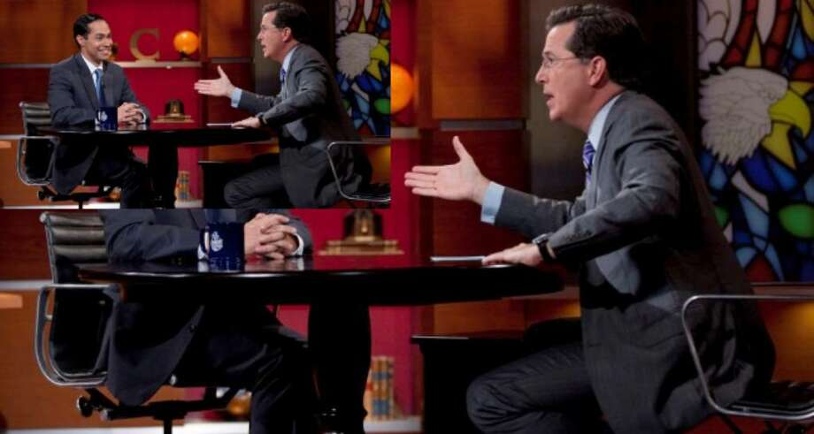 Mayor Julián Castro's is interviewed by Stephen Colbert on the The Colbert Report Tuesday.