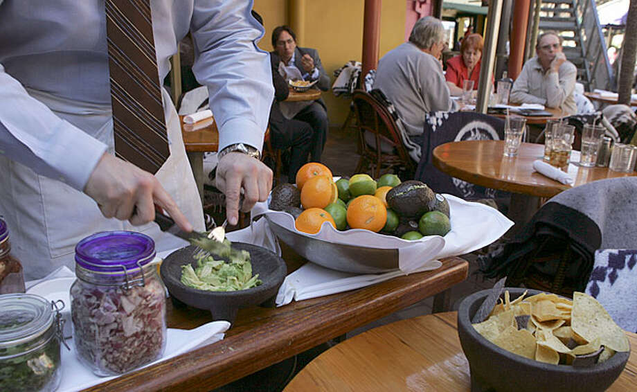 Boudro's on the River Walk makes Guacamole Salad at your table.