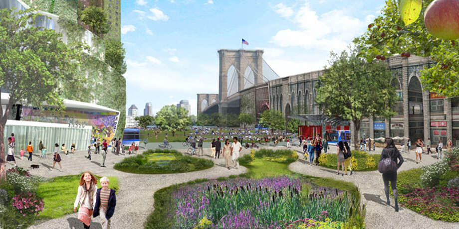 """This artist's rendering provided by the Center for Architecture and created by the architect team of Terreform and Michael Sorkin Studio shows their vision of what an area of New York City, near the Brooklyn Bridge, might look like in 20 years if the city became more green-friendly and less car dependent. It is from the exhibit, """"Our Cities Ourselves,"""" at the Center for Architecture in Greenwich Village, which features visions for utopias in 10 large cities."""