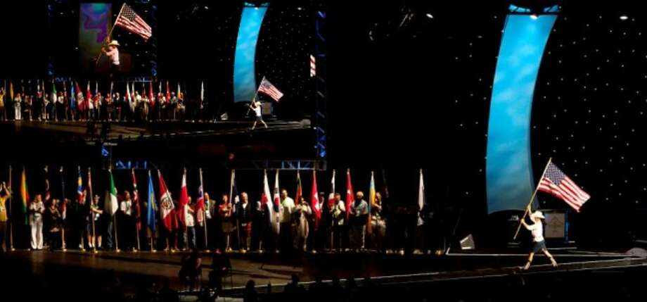 Over 50, 000 people filled the Alamodome during the Alcoholics Anonymous International Convention opening ceromony on July 2.