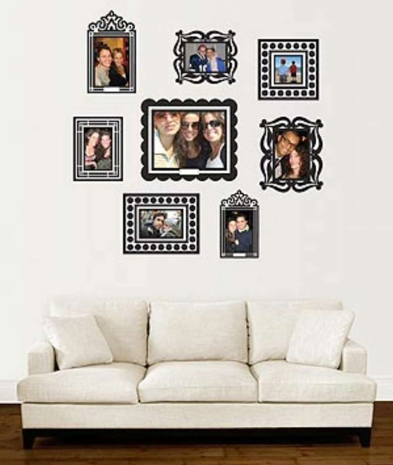 "Stickr Frames, $19.95, DormCo.com: Removable adhesive ""frames"" make it easy to add interest to a room without putting nails or tacks in the walls. The pack comes with eight frames in four sizes."