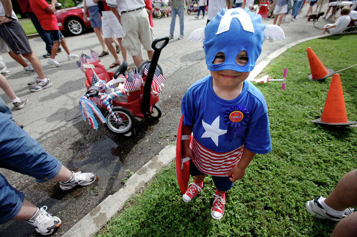 Four-year-old Benjy Guney dresses as Captain America. The outfit earned him a first place win in a costume contest.