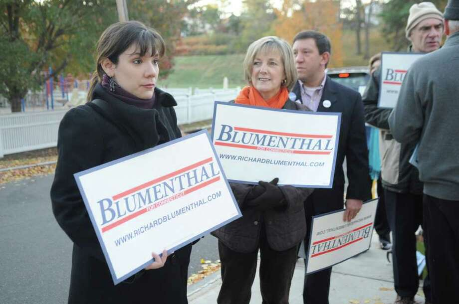 Christina Saenz, left, and Lin Lavery and supporters of Richard Blumenthal, Democratic candidate for U.S Senate, at the Western Greenwich Civic Center on Tuesday, Nov. 2, 2010. Photo: Helen Neafsey / Greenwich Time